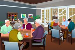 Elderly people playing cards - stock illustration