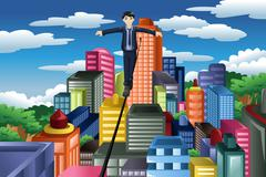 Businessman balancing on a tight rope Stock Illustration