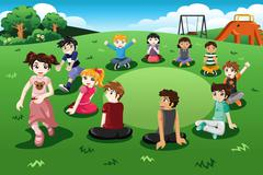 Kids playing duck duck goose - stock illustration