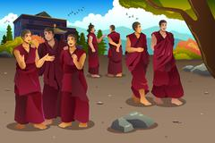 Buddhist monks in Tibet temples - stock illustration