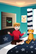 Boy talking with his imaginary friend - stock illustration
