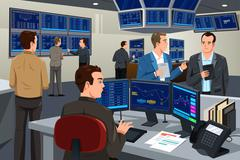 Financial stock trader working in a trading room - stock illustration