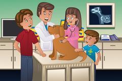 Veterinarian examining a dog Stock Illustration