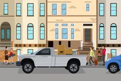 Moving couple loading stuff into their car - stock illustration