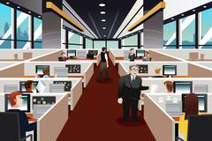 People working in the office - stock illustration