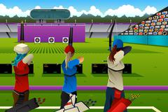 Archers in the archery competition Stock Illustration