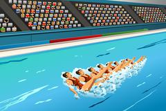 Synchronized swimming competition Stock Illustration