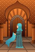 Muslim woman praying in the mosque Stock Illustration