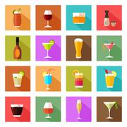 Stock Illustration of Alcohol drink glasses icons