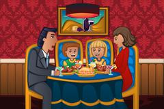 Family eating dinner together - stock illustration