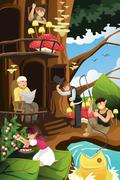 Elf living in the tree house - stock illustration