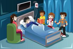 Kids visiting their friend in hospital - stock illustration