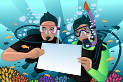 Snorkeling poster Stock Illustration