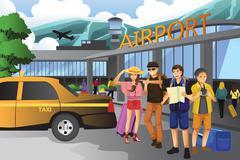 People traveling together - stock illustration