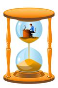 Office worker inside the hourglass - stock illustration