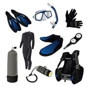 Scuba diving icons Stock Illustration