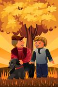 Father playing with his son and their dog Stock Illustration