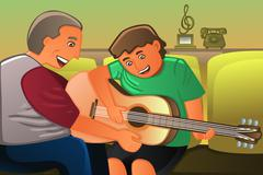 Father playing guitar with his son - stock illustration