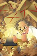 Stock Illustration of Inventor with stack of broken light bulb