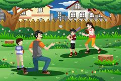 Family playing baseball outdoor Stock Illustration
