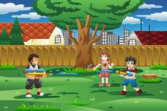 Kids playing with water gun in the backyard - stock illustration