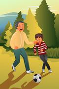 Father playing soccer with his son Stock Illustration