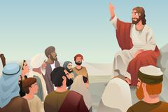 Jesus spreading his teaching to people - stock illustration