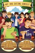 People in hotdog eating contest Stock Illustration