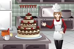 Pastry cook decorating a cake - stock illustration
