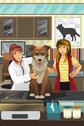Veterinarian examining a cute dog - stock illustration