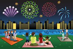 Families Watching Fireworks in a Park - stock illustration