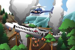 Search and rescue for airplane crash - stock illustration