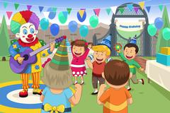 Clown at a kids birthday party - stock illustration