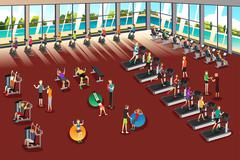 Scenes Inside a Fitness Center Piirros