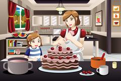 Mother Daughter Decorating a Cake - stock illustration