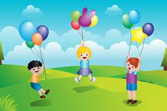 Kids playing with balloons - stock illustration