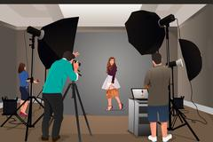 Photographer Shooting Model Stock Illustration