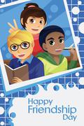 Kids Celebrating Friendship Day - stock illustration