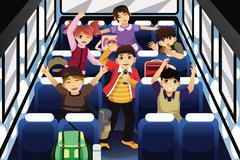 School Children Singing and Dancing Inside the School Bus - stock illustration