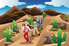 People Hiking in the Desert - stock illustration