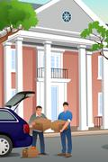 Father Helping His Teenage Son Moving to a New Campus Stock Illustration