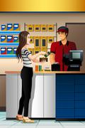 Woman Paying the Cashier at the Store - stock illustration