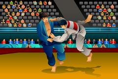 Men Doing Judo in the Competition Stock Illustration