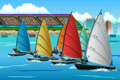 Athletes Sailing in the Competition - stock illustration