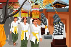 Balinese people in a traditional celebration - stock illustration