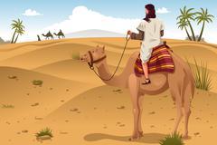 Arabian Riding Camels on the Desert Stock Illustration