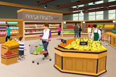 Mother Son Shopping in a Grocery Store Stock Illustration