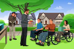 Stock Illustration of Man Giving Donation to the Disable People in an Event
