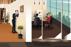 Businessman Listening to the Conversation in a Meeting Room - stock illustration