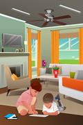 Kids Playing with Tablet PC in the Living Room Stock Illustration